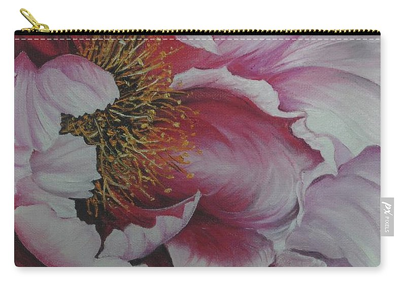Pink Peony Carry-all Pouch featuring the painting Single Peony by Karin Dawn Kelshall- Best