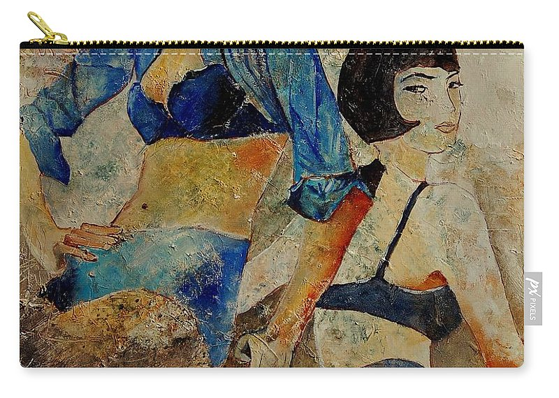 Girl Carry-all Pouch featuring the painting Sisters by Pol Ledent