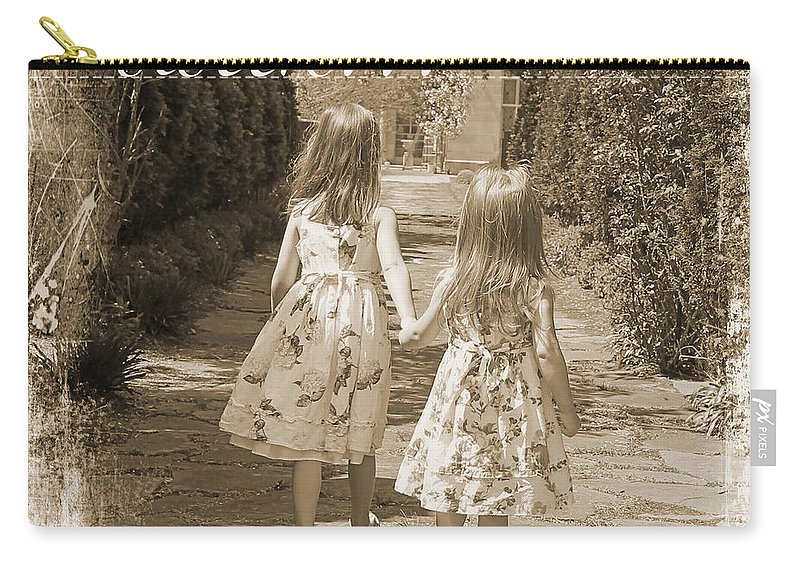 Girls Carry-all Pouch featuring the painting Sisters-sepia by Jean Plout