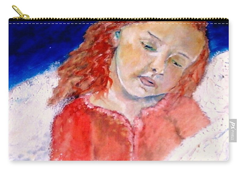 Angels Carry-all Pouch featuring the painting watching the Dreamers by J Bauer