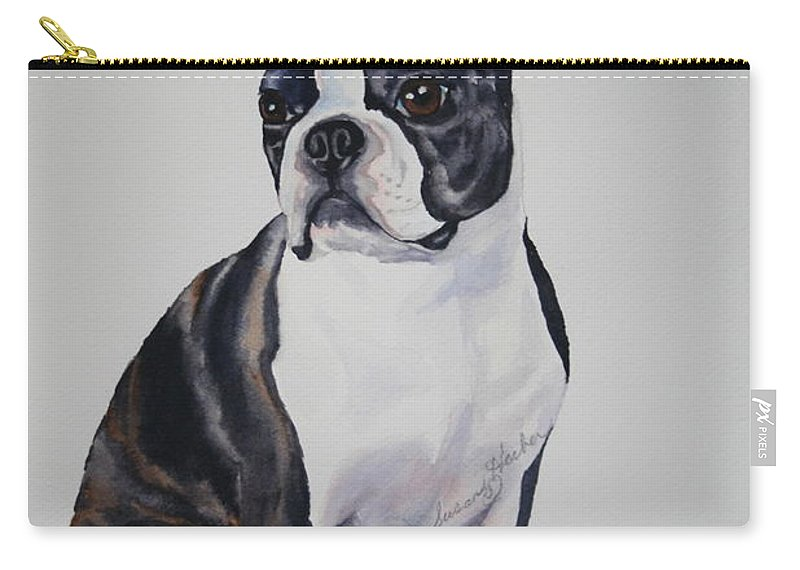 Boston Terrier Carry-all Pouch featuring the painting Sit by Susan Herber