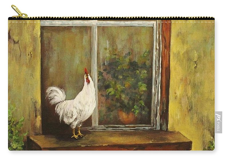 Rooster Carry-all Pouch featuring the painting Sittin Chickens by Nadia Bindr