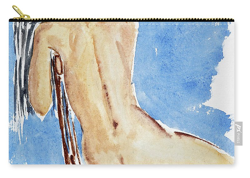 Girl Carry-all Pouch featuring the painting Sitting Girl by Michal Boubin