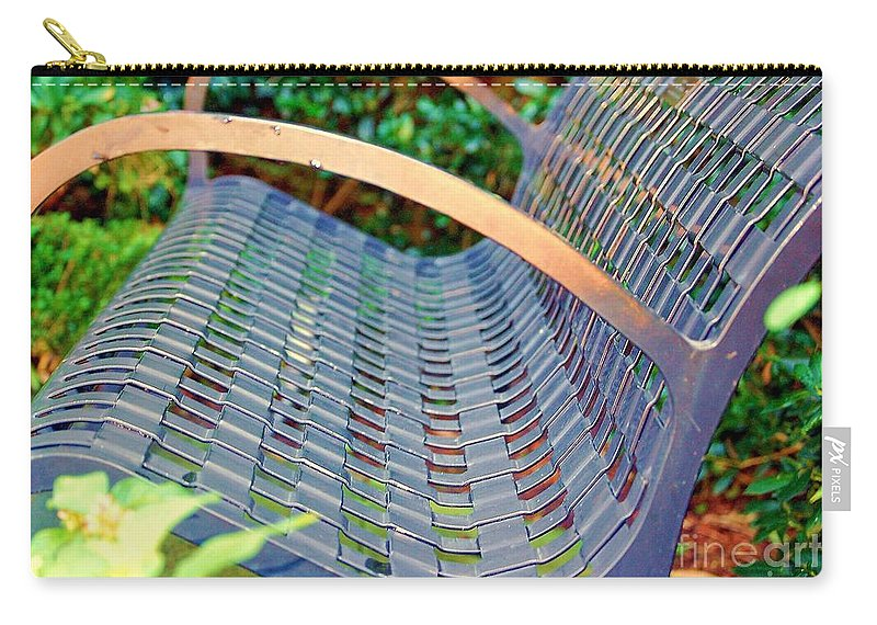 Bench Carry-all Pouch featuring the photograph Sitting On A Park Bench by Debbi Granruth