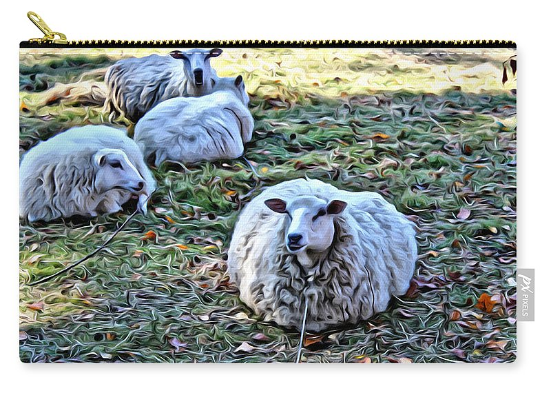 Sheep Carry-all Pouch featuring the photograph Sitting There by Modern Art