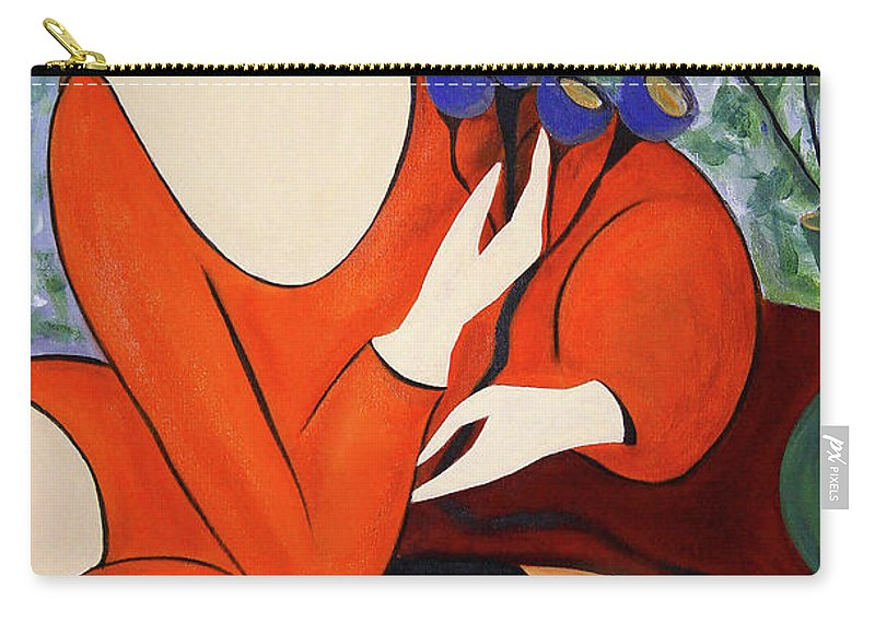 #female Carry-all Pouch featuring the painting Sitting Women by Jacquelinemari