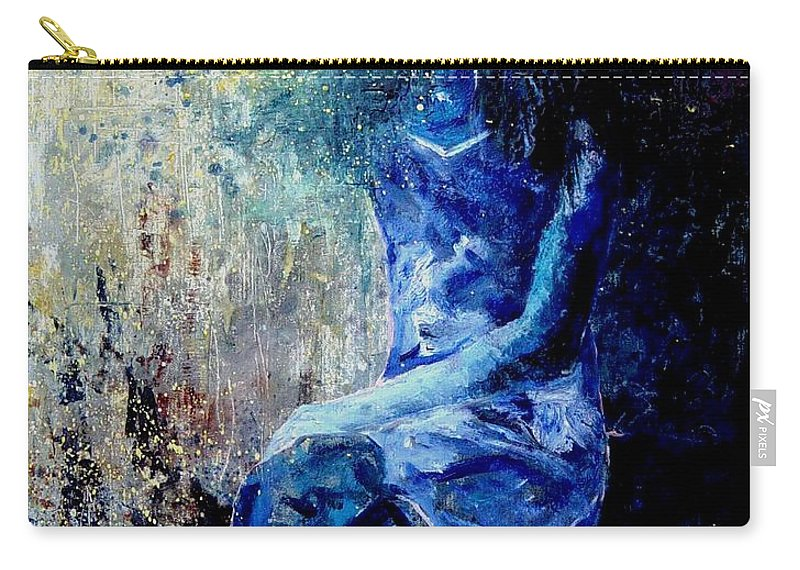 Woman Girl Fashion Carry-all Pouch featuring the painting Sitting Young Girl by Pol Ledent