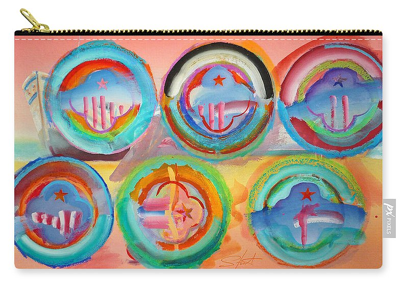 9/11 Carry-all Pouch featuring the painting Six American Icons by Charles Stuart