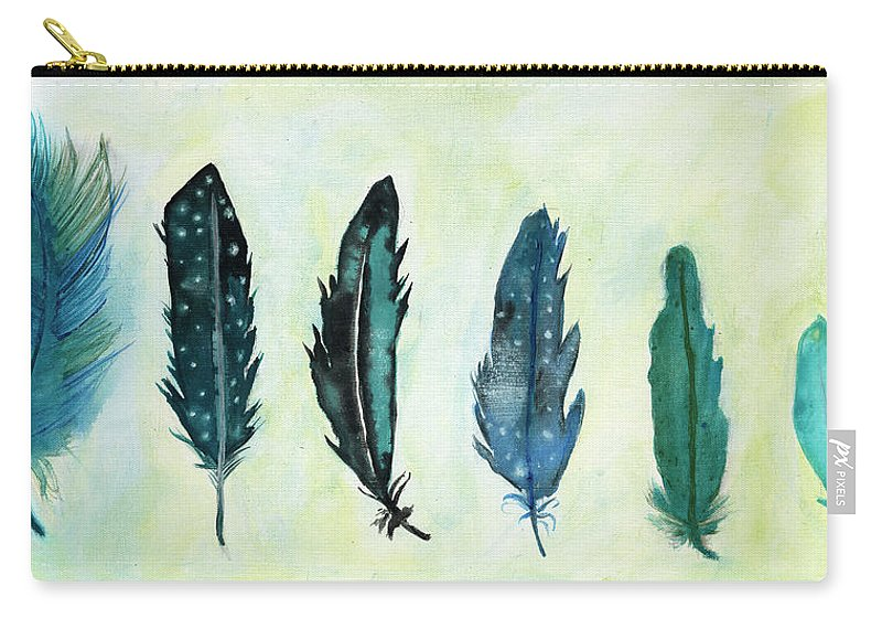 Blue Green And Turquoise Feathers Carry-all Pouch featuring the painting Six Feathers by Koni Webb Bosch