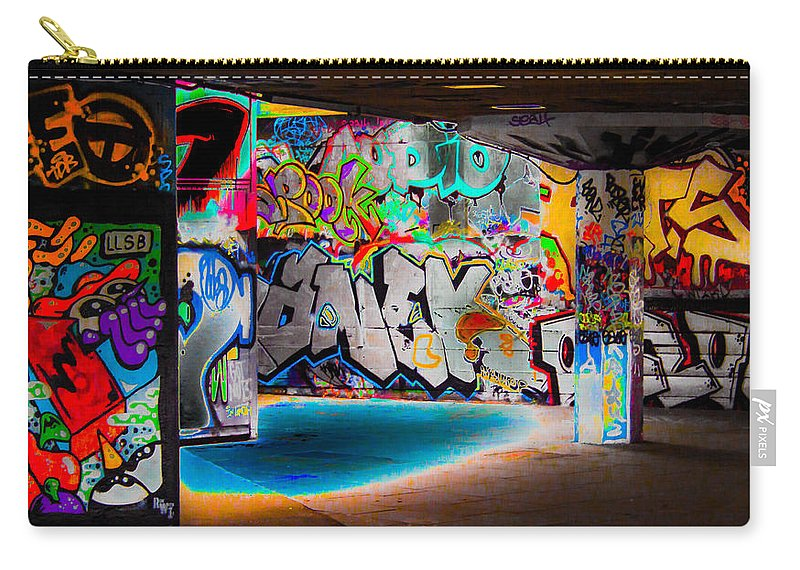 Graffiti Carry-all Pouch featuring the digital art Skatepark Graffiti Southbank 3 by Mo Barton