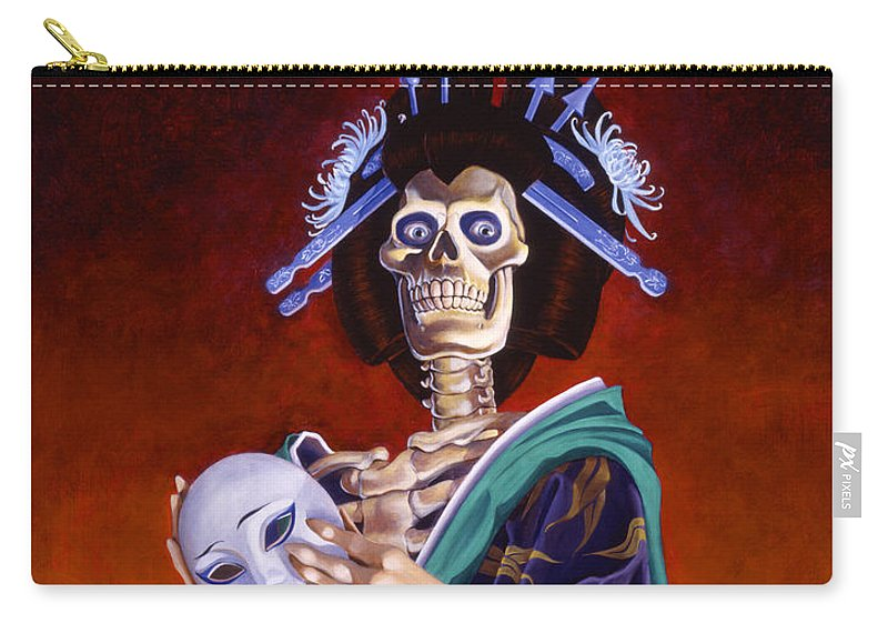 Skeleton Carry-all Pouch featuring the painting Skeletal Geisha With Mask by Melissa A Benson