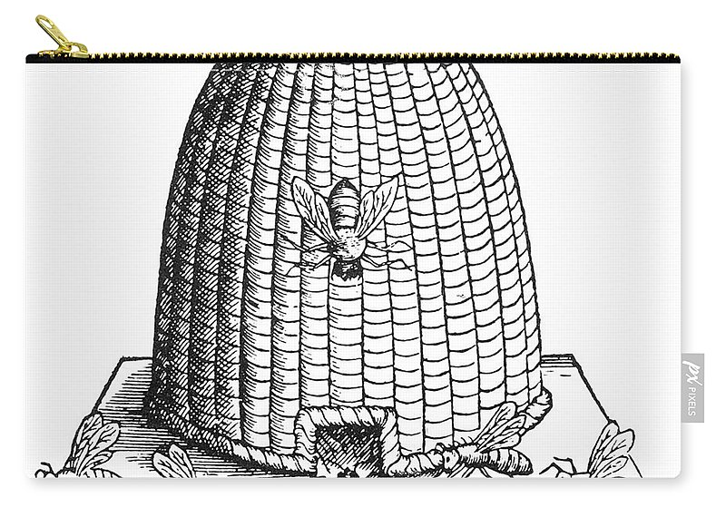 Agriculture Carry-all Pouch featuring the photograph Skep Beehive, 17th Century by Science Source