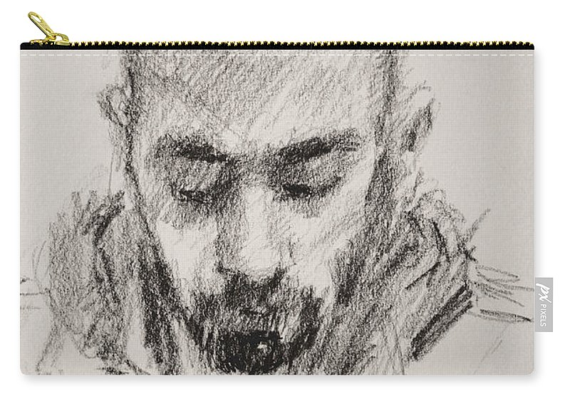 Man Carry-all Pouch featuring the drawing Sketch Man 16 by Ylli Haruni