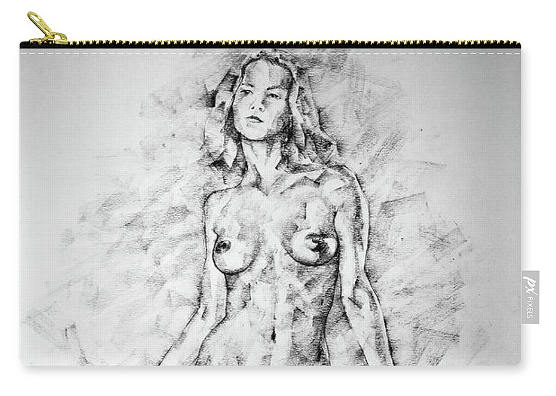 Art Carry All Pouch Featuring The Drawing Sketchbook Page 39 Female Full Body Sitting