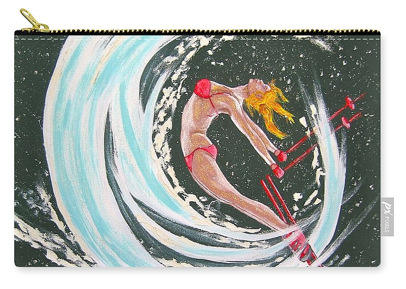 Abstract Sports Carry-all Pouch featuring the painting Ski Bunny by V Boge