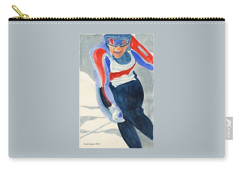 Skier Carry-all Pouch featuring the painting Skier by Fred Jinkins
