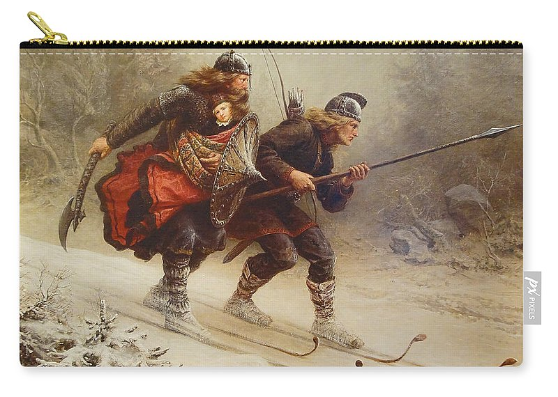 Knud Bergslien Carry-all Pouch featuring the painting Skiing Birchlegs Crossing The Mountain With The Royal Child by Knud Bergslien