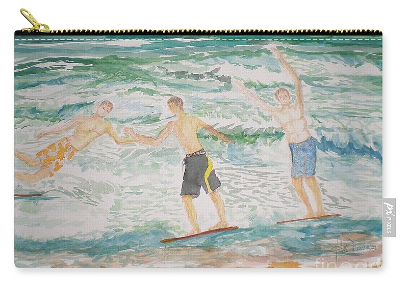 Seascape Carry-all Pouch featuring the painting Skim Boarding Daytona Beach by Hal Newhouser