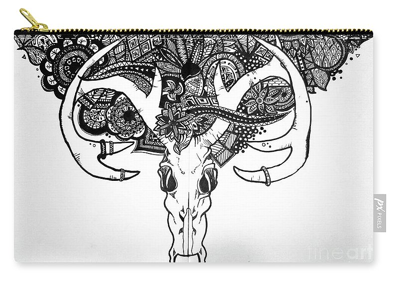 Skull Carry-all Pouch featuring the drawing Skull Art by Sara Matthews