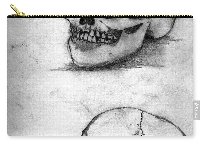 Skull Carry-all Pouch featuring the drawing Skull Drawing by Alban Dizdari