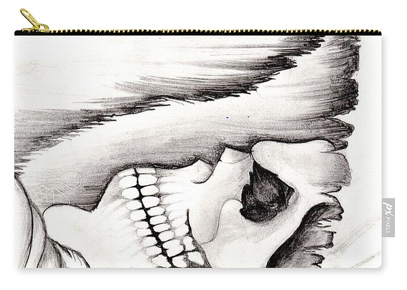 Skeleton Carry-all Pouch featuring the photograph Skull Gambler by Dhruv Patel