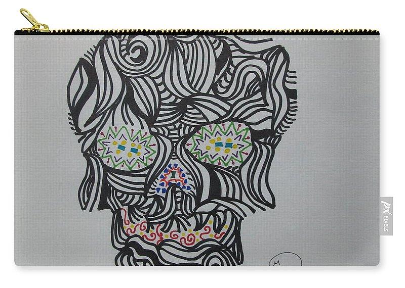 Death Carry-all Pouch featuring the drawing Skull by Rodrigo Maldonado