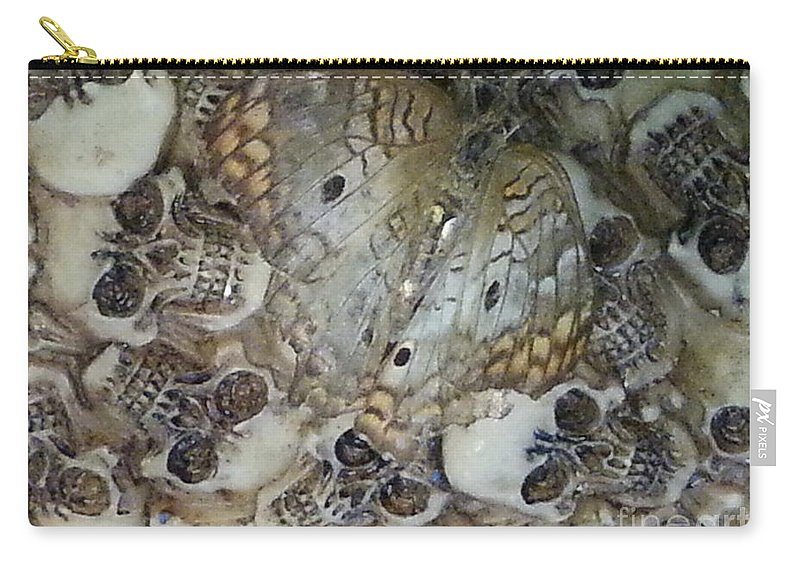 Skulls Carry-all Pouch featuring the photograph Skullnbutterfly by Michelle S White