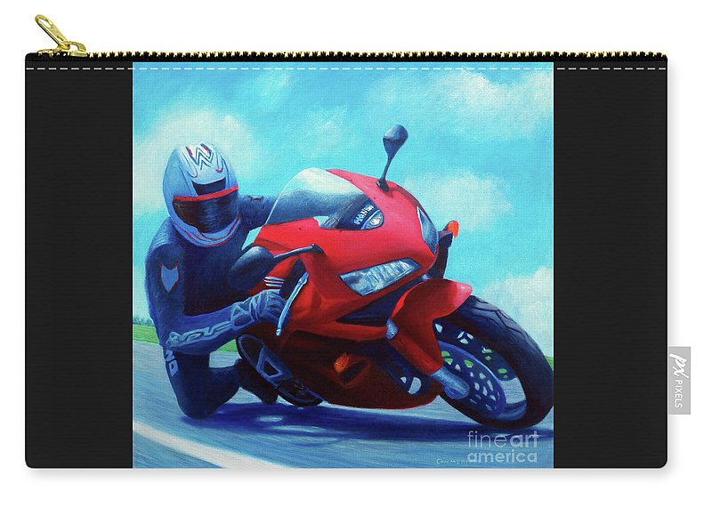 Motorcycle Carry-all Pouch featuring the painting Sky Pilot - Honda Cbr600 by Brian Commerford