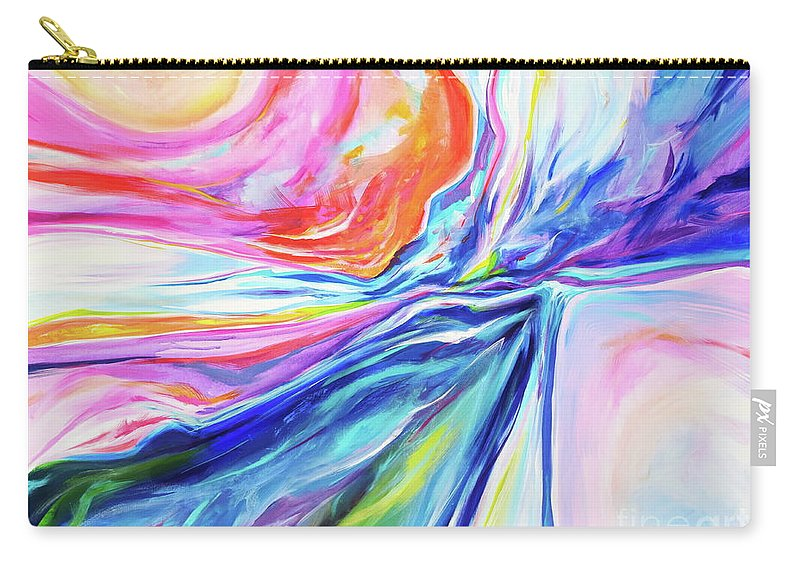 I Feel Like I'm Channeling Nature's Grandeur Here In This Impressionist Abstract Land/ Seascape .full Of Vibrant Colors And Vast Sweeping Drama. Carry-all Pouch featuring the painting Sky Sea Sun Sand by Priscilla Batzell Expressionist Art Studio Gallery