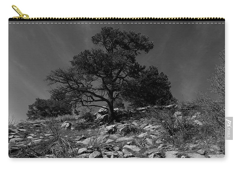 Black And White Photography Carry-all Pouch featuring the photograph Sky Streaks by Kirk Griffith