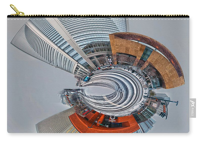Digital Carry-all Pouch featuring the photograph skyline of Uptown charlotte mini planet in winter by Alex Grichenko