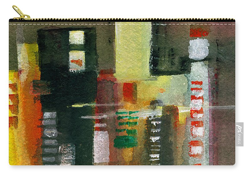 Townscape Carry-all Pouch featuring the painting Skyscrapers by Anil Nene