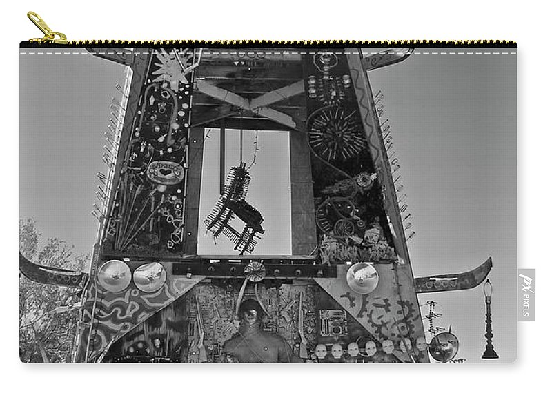 Black And White Carry-all Pouch featuring the photograph Slab City Museum Tower Bw by FlyingFish Foto