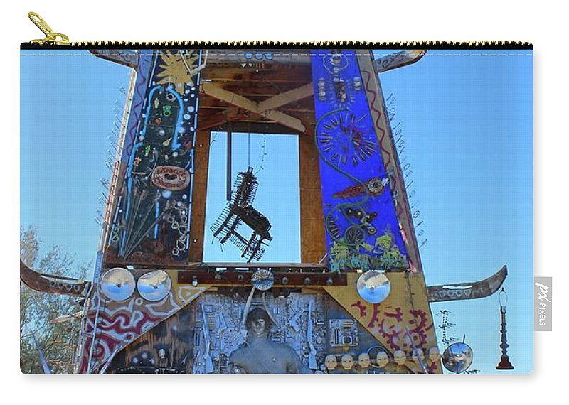 Color Carry-all Pouch featuring the photograph Slab City Museum Tower by FlyingFish Foto