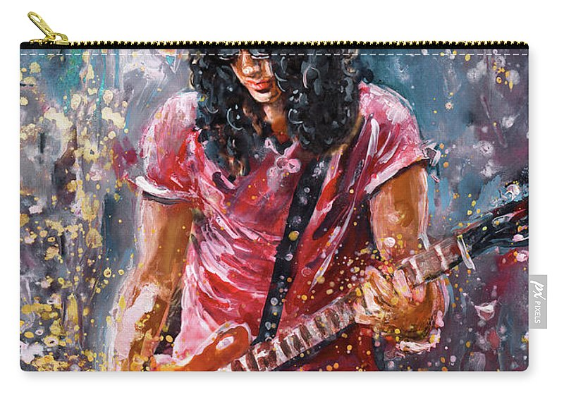 Music Carry-all Pouch featuring the painting Slash by Miki De Goodaboom