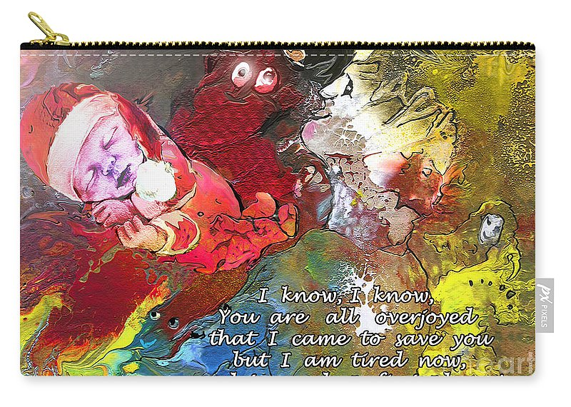 Messiah Painting Carry-all Pouch featuring the painting Sleepig Messiah by Miki De Goodaboom