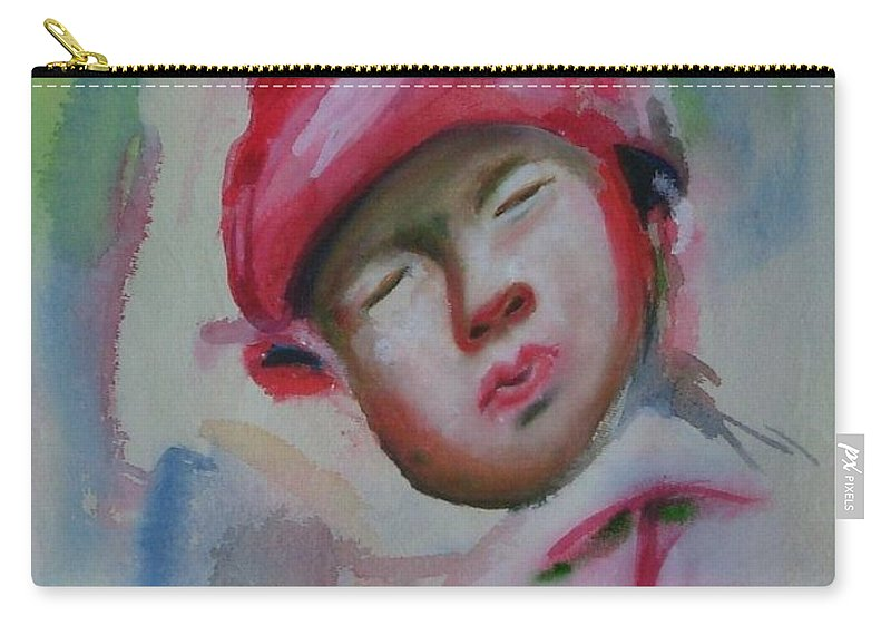 Watercolor Painting Carry-all Pouch featuring the painting Sleeping Baby by Riya Rathore