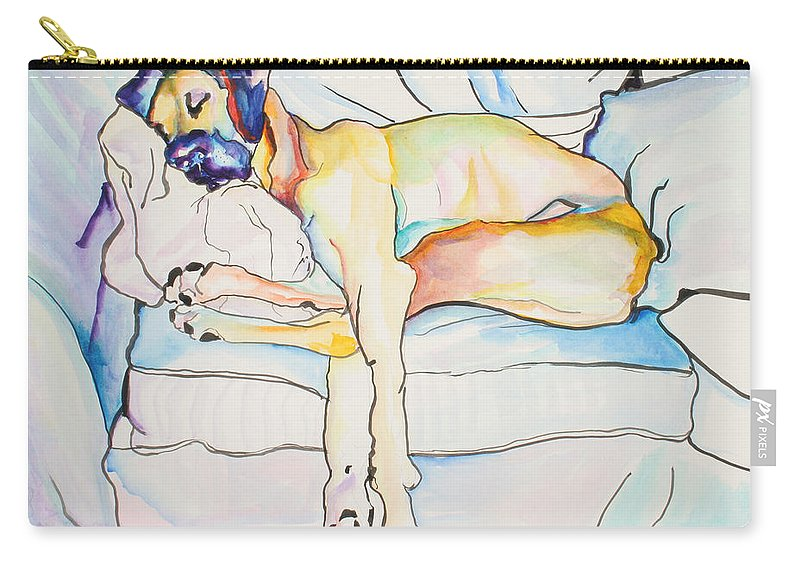 Great Dane Carry-all Pouch featuring the painting Sleeping Beauty by Pat Saunders-White