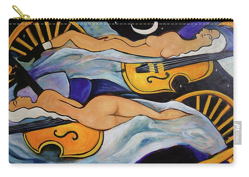 Musicians Carry-all Pouch featuring the painting Sleeping Cellists by Valerie Vescovi