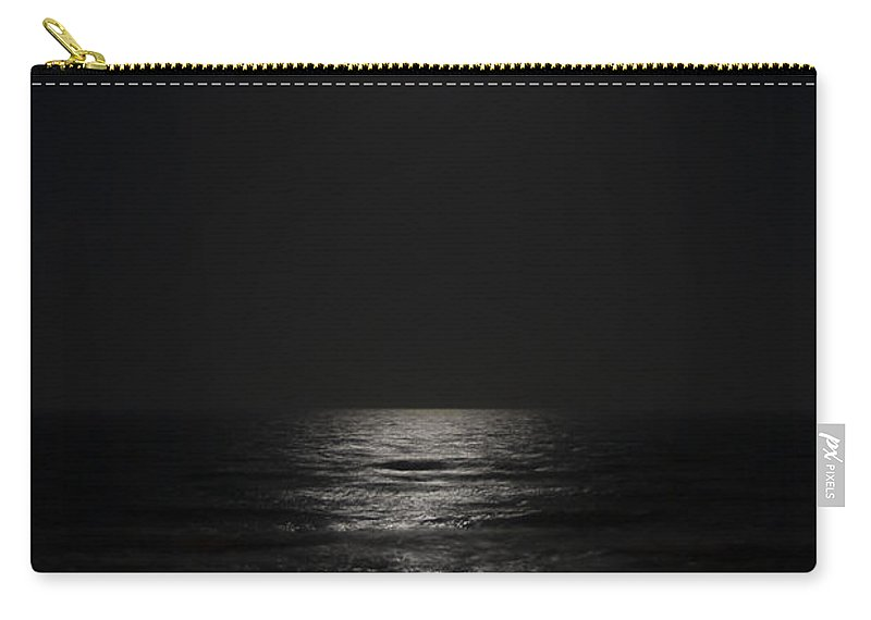 Beach Night Moon Light Wave Waves Water Ocean Sea Dark Bright Reflect Reflection Carry-all Pouch featuring the photograph Sleepless Night by Andrei Shliakhau