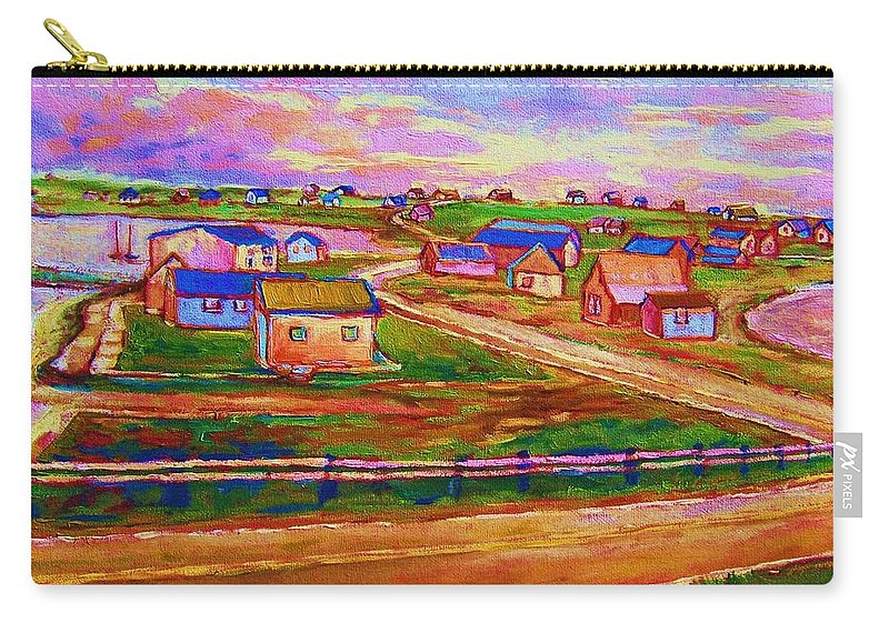 Sunrise Carry-all Pouch featuring the painting Sleepy Little Village by Carole Spandau