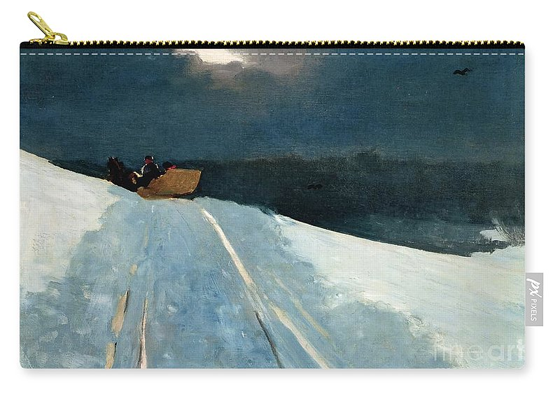 Winter Scene; Wintry; Snow; Snow-covered Landscape; Rural; Remote; Night; Darkness; Tracks; Path; Track; Moonlight; Sledge; Nocturne; Sleigh Ride Carry-all Pouch featuring the painting Sleigh Ride by Winslow Homer