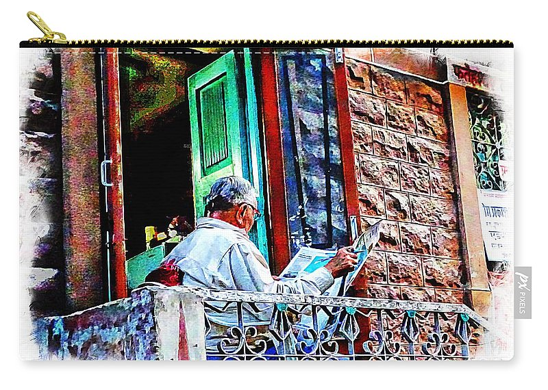 Sunny Carry-all Pouch featuring the photograph Slice Of Life Sunny Sunday Morning Newspaper India Rajasthan Udaipur 2a by Sue Jacobi