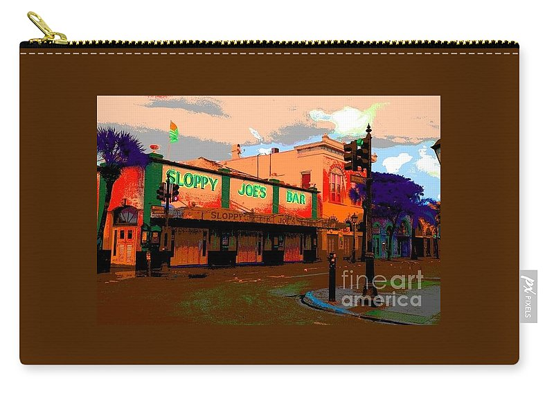 Sloppy Joes Bar Carry-all Pouch featuring the photograph Sloppy Joes Bar Electric by Lisa Renee Ludlum