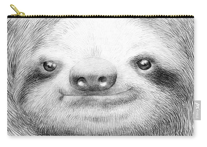 Sloth Carry-all Pouch featuring the drawing Sloth by Eric Fan