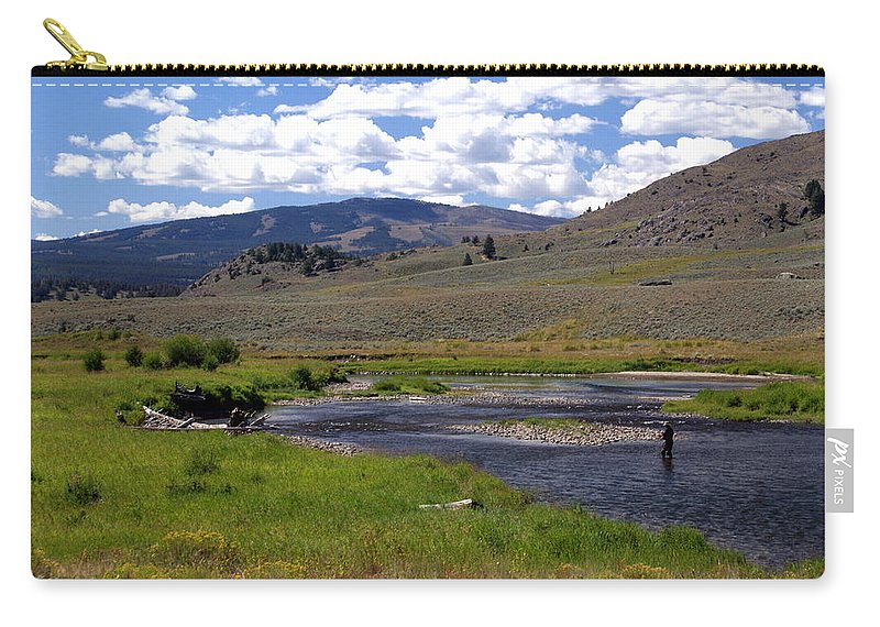 Yellowston National Park Carry-all Pouch featuring the photograph Slough Creek Angler by Marty Koch