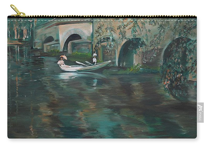 River Carry-all Pouch featuring the painting Slow Boat - Lmj by Ruth Kamenev