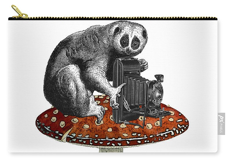 Slow Loris Carry-all Pouch featuring the digital art Slow Loris With Antique Camera by Madame Memento