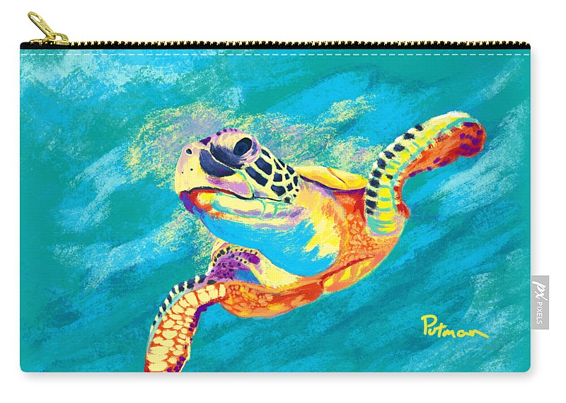 Sea Turtle Carry-all Pouch featuring the digital art Slow Ride by Kevin Putman