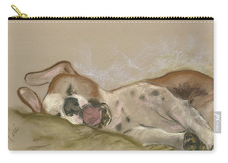 Dog Carry-all Pouch featuring the drawing Slumbering Grace by Cori Solomon